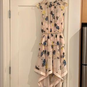 Self portrait pink/floral chiffon bandeau dress